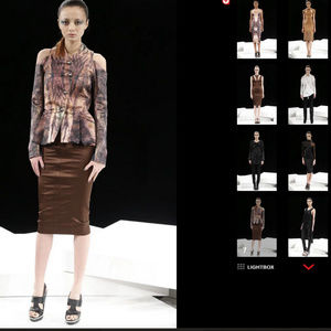 Runway Sample Brown Stretch Satin Wiggle Skirt XS